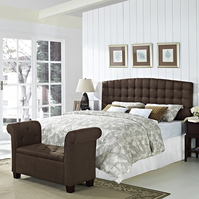 stanza tappezzata testiera stile moderno tessuto letto king size imposta