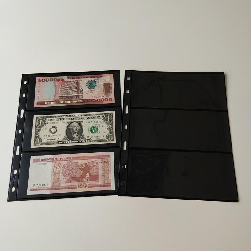 3 pagine di portafoglio di Pocket Black Currency Storage per banconote in valuta
