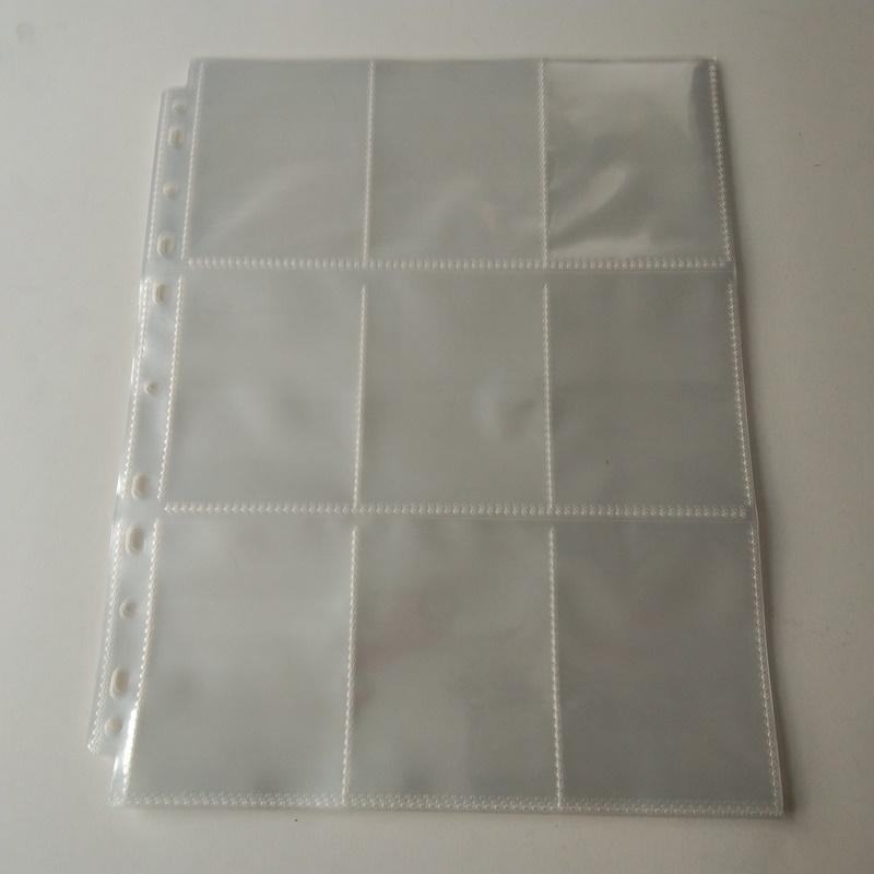9 Pocket Poly Card Holder Protezioni per pagine Foglio di plastica per raccoglitori
