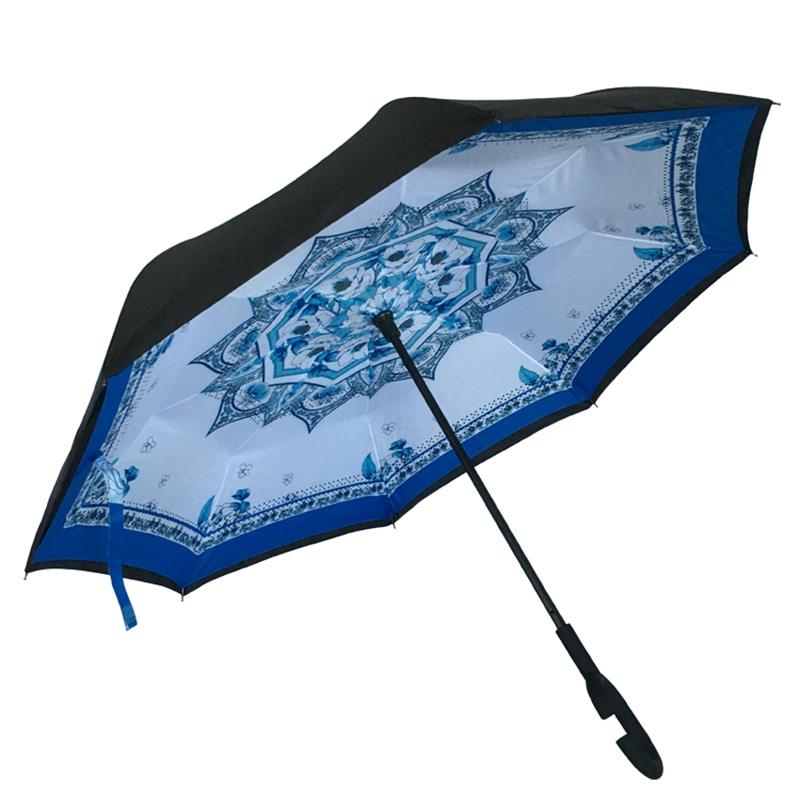 2019 regali di vendita Auto aperto manul chiudi personalizzato stampa speciale pioggia inversione inversa antivento ombrello