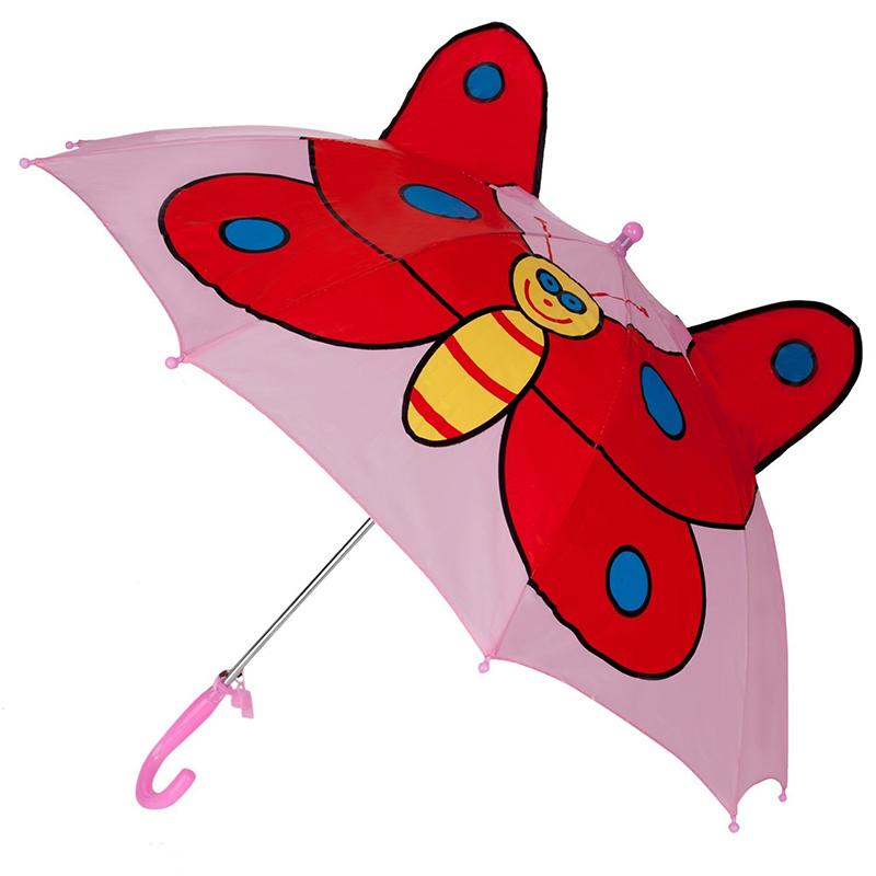 Top vendita pubblicità rosa farfalla immagini animali bambini personalizzati auto aperto dritto ombrello
