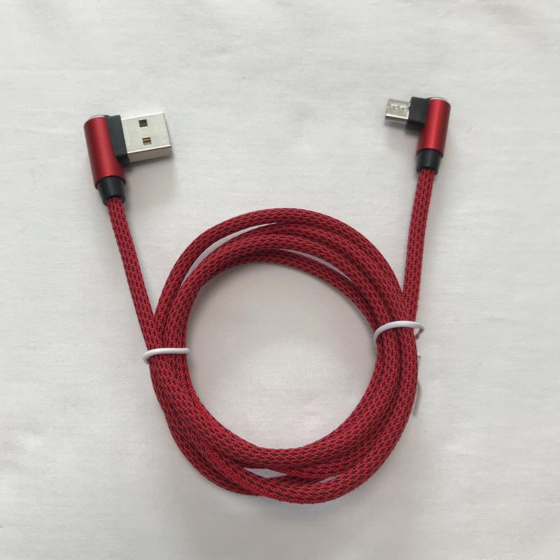 Cavo dati intrecciato Fast Charging Round Custodia in alluminio Cavo USB per micro USB, tipo C, ricarica e sincronizzazione fulmini per iPhone