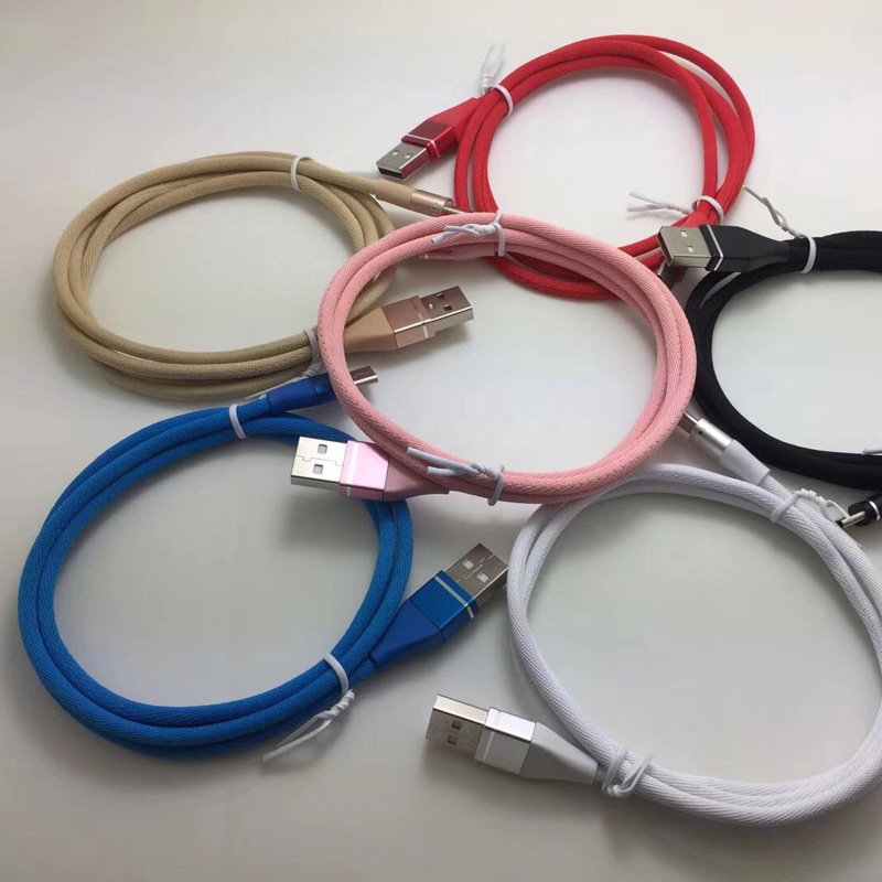 Cavo dati intrecciato colorato Carica rapida Custodia in alluminio tonda Cavo USB per micro USB, tipo C, ricarica e sincronizzazione fulmini per iPhone