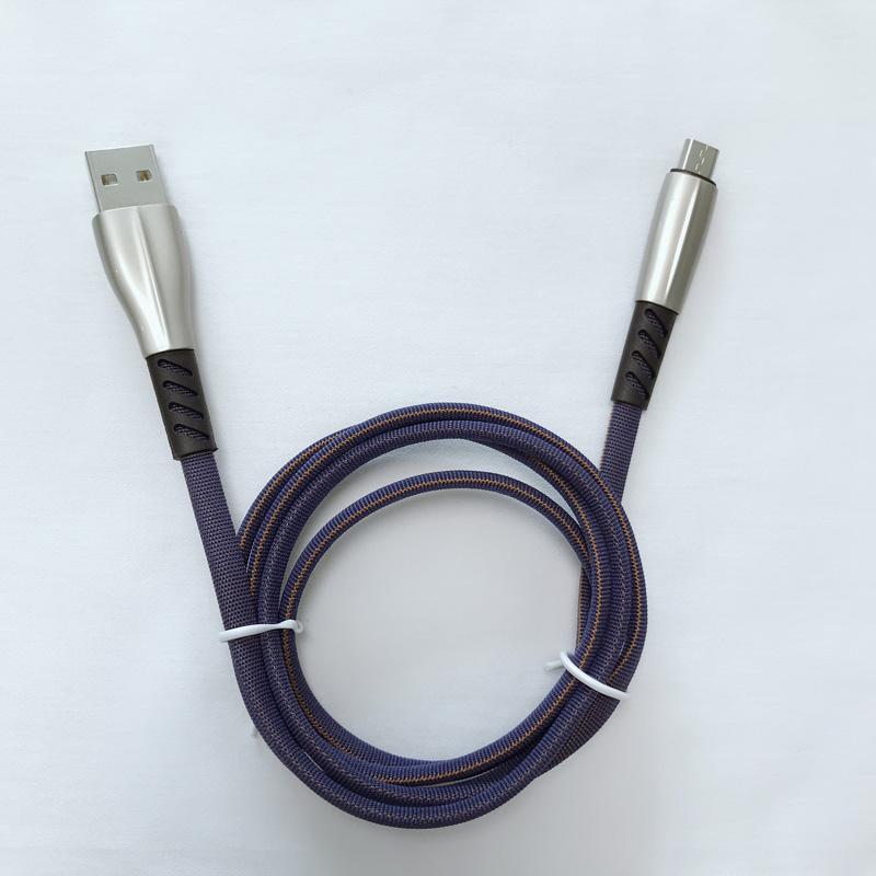 Cavo dati intrecciato 3.0A Custodia in lega di zinco piatta a ricarica rapida Flex bending Groviglio cavo USB gratuito per micro USB, tipo C, ricarica e sincronizzazione fulmini per iPhone