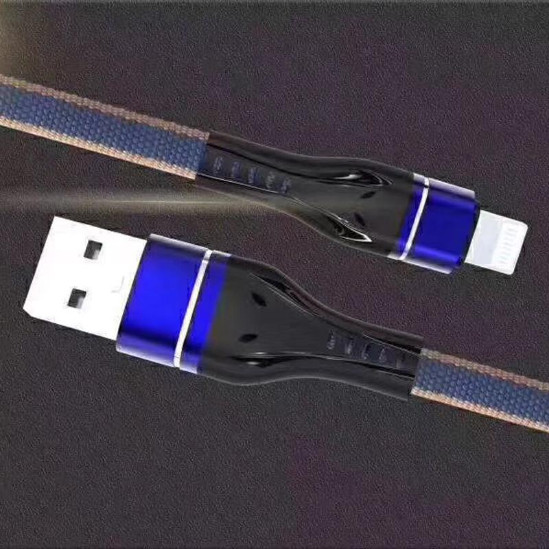 Alloggiamento di alluminio piatto di ricarica veloce intrecciato Flex cavo di dati USB di groviglio di piegatura grossa per micro USB, tipo C, ricarica e sincronizzazione fulmine di iPhone