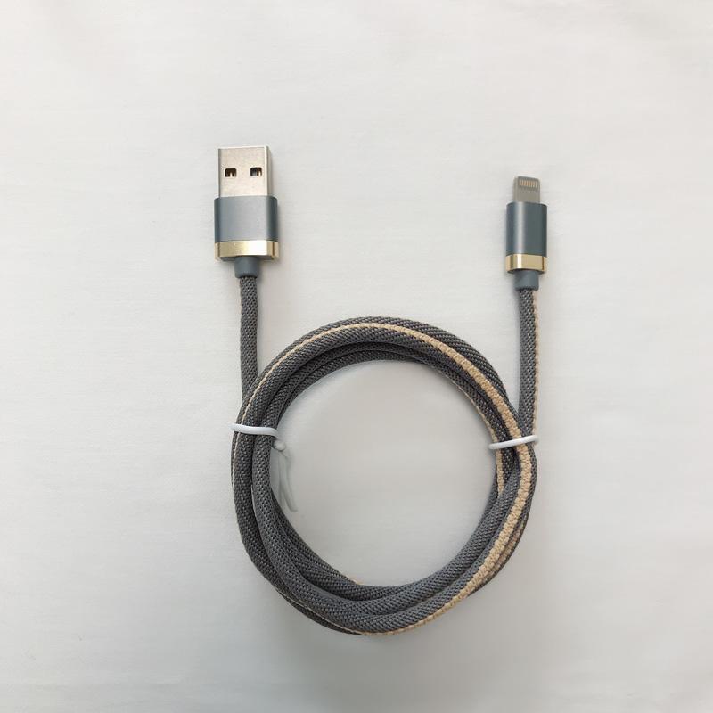 Cavo dati USB intrecciato in alluminio tondo con ricarica rapida intrecciata per micro USB, tipo C, ricarica e sincronizzazione fulmini per iPhone
