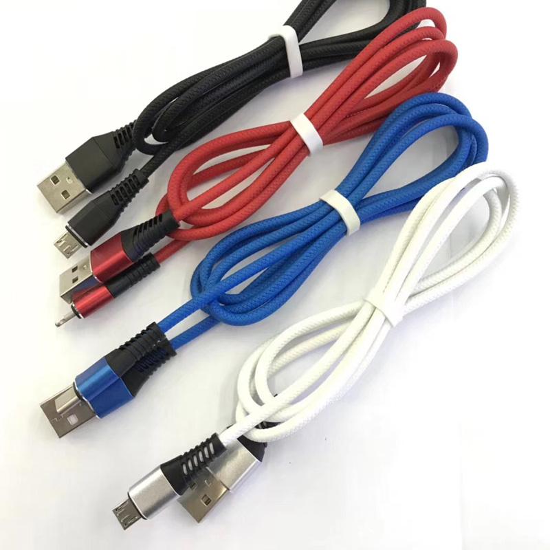 Custodia in alluminio tonda per ricarica rapida TPE flessibile Cavo dati USB per micro USB, tipo C, carica fulmini per iPhone e sincronizzazione