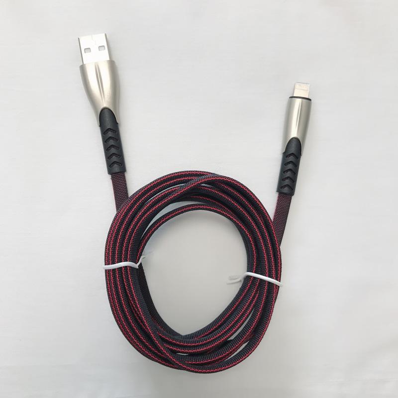 2 metri 1,8 A Intrecciato Veloce Ricarica in lega di zinco piatta Alloggiamento Groviglio Flessione flessibile Flessione cavo dati USB per micro USB, tipo C, carica e sincronizzazione fulmini per iPhone