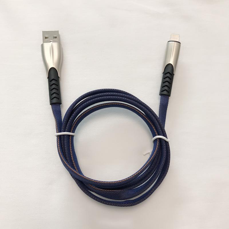3.8A Intrecciato Veloce Ricarica Custodia in lega di zinco piatta Groviglio Flessione flessibile Flessione cavo dati USB per micro USB, tipo C, carica e sincronizzazione fulmini per iPhone