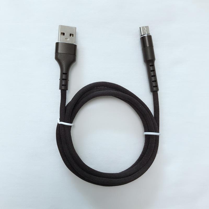 Fast Charging Round Alloggiamento di alluminio Intrecciato Flex bending Cavo dati USB per micro USB, tipo C, carica e sincronizzazione di fulmini per iPhone