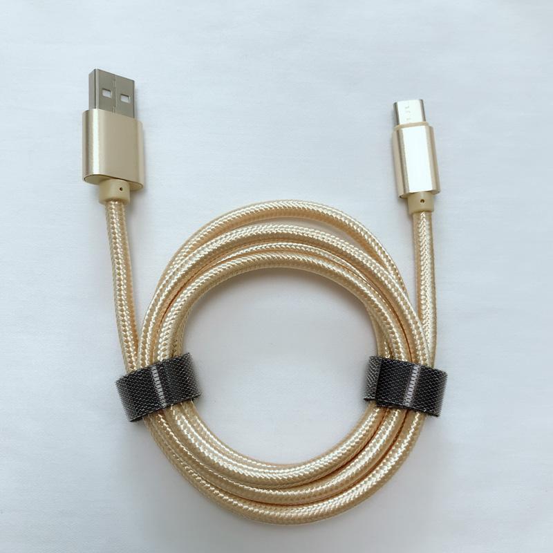 Buon prezzo Cavo di trasmissione dati in alluminio tondo intrecciato per ricarica rapida in alluminio per micro USB, tipo C, carica e sincronizzazione di fulmini per iPhone