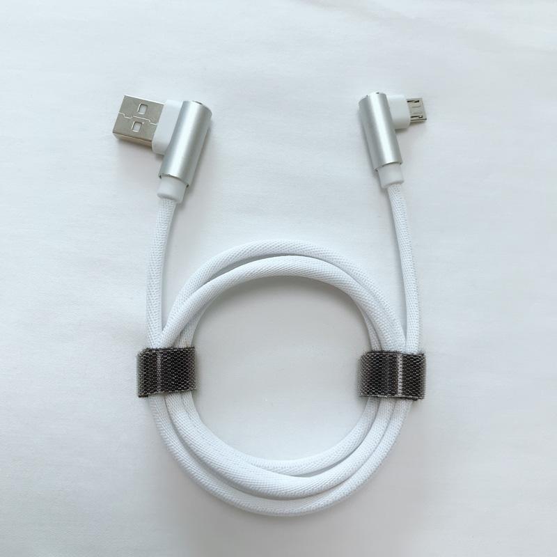 Doppio angolo ad angolo retto Intrecciato Ricarica rapida Custodia in alluminio Cavo dati USB per micro USB, tipo C, carica fulmini per iPhone e sincronizzazione