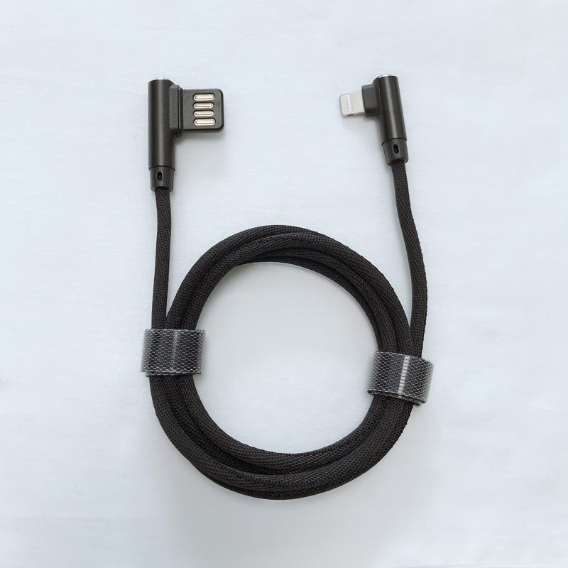 Dual Face USB 2.0 Doppio angolo ad angolo retto Intrecciato Ricarica rapida Custodia in alluminio Cavo dati USB per micro USB, tipo C, carica e sincronizzazione del fulmine per iPhone