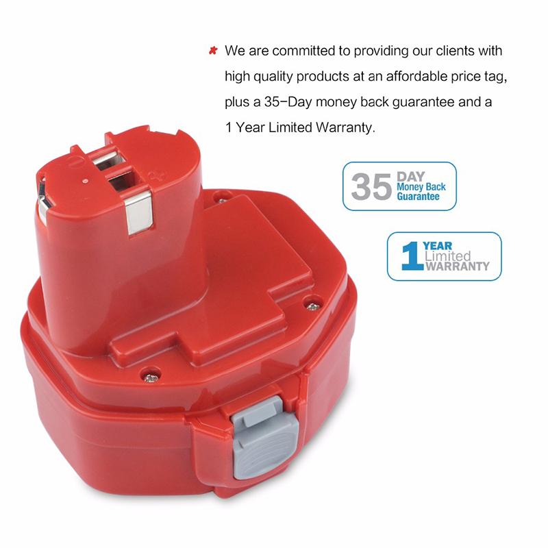 Batterie di ricambio Ni-Cd 14.4V 2000mAh per Makita 1435, 1435F, 192699-A Utensili elettrici senza fili