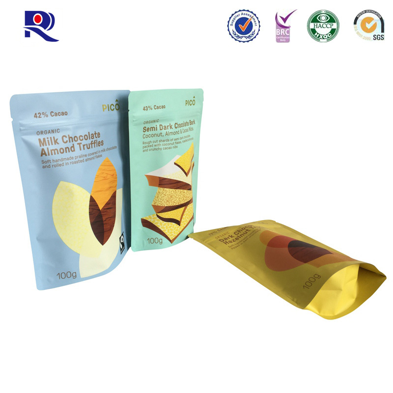 Custodia in alluminio con cerniera per cerniera per cioccolato o altri imballaggi per alimenti 100 g 250 g 500 g ecc