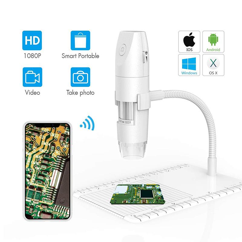Microscopio WiFi Microscopio digitale wireless da 50X a 1000X, supporto flessibile per osservazione braccio con fotocamera 1080P HD 2.0 MP 8 LED, mini microscopio portatile per PC Android iOS