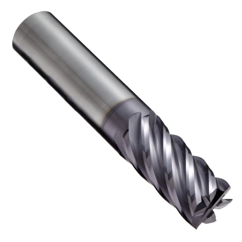 """Fresa quadrata in metallo duro, finitura multistrato TIALN, elica 40 gradi, 6 scanalature, lunghezza totale 3 \"""", diametro taglio 0,5\"""", diametro codolo 0,5 \"""