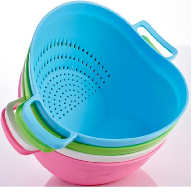 Cestino drenante acqua in silicone pratico cesto scarico cucina doppio manico cestino Taomi cestino frutta e verdura