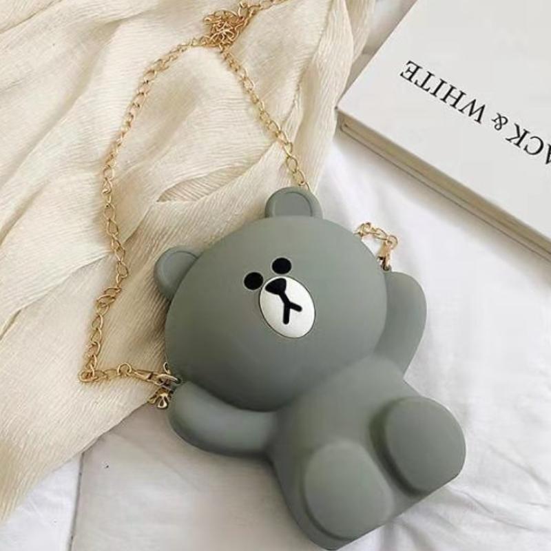 Cartone animato in silicone borsa per ragazza borsa per cellulare in silicone simpatico orso catena a catena singola spalla obliqua borsa a tracolla
