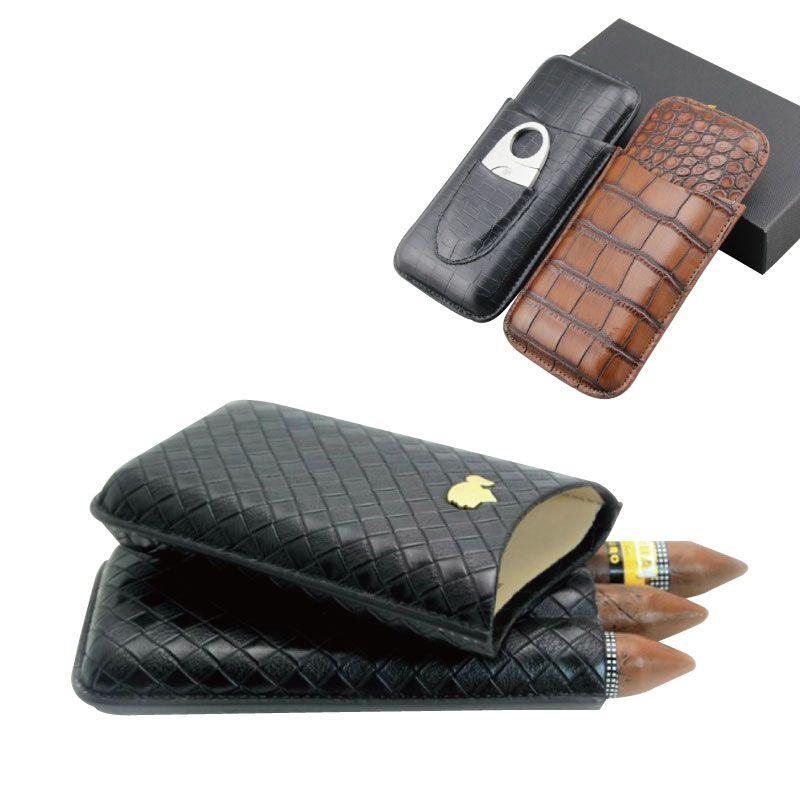 Viaggio 3 conti Portable Leather Cigar Case