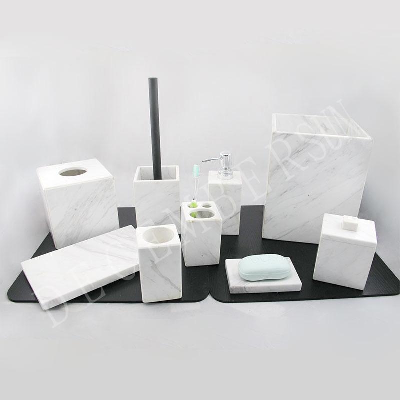 Set accessori bagno in marmo bianco