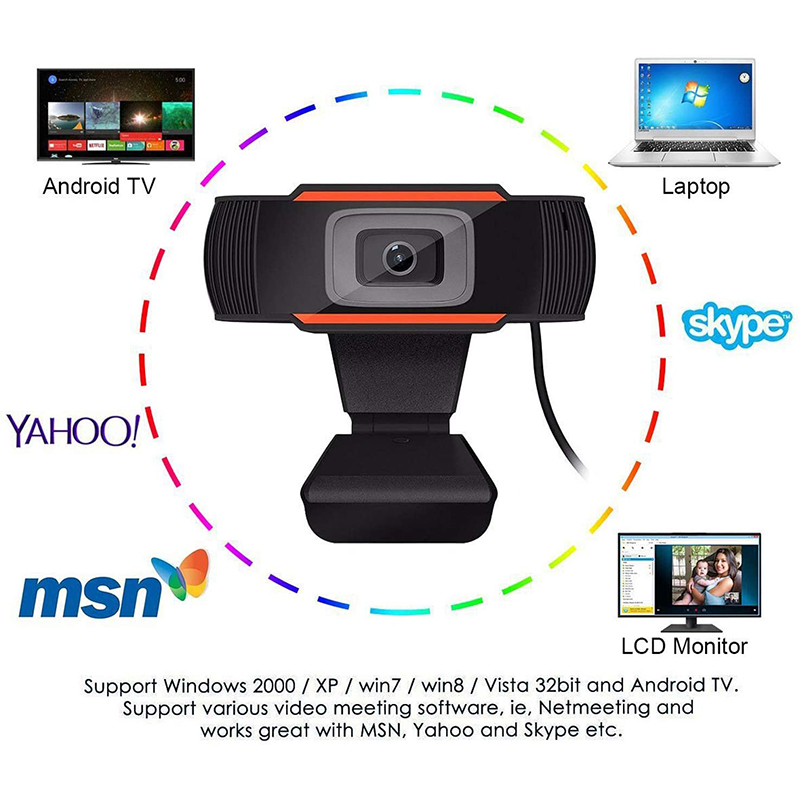 HD 1080P Computer Webcam PC Desktop Desktop USB 2.0 Camera con Digital Microphone
